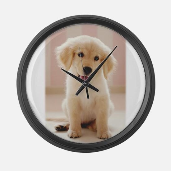 Golden Retriever Pup Large Wall Clock