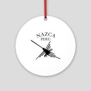 Nazca Peru Hummingbird With Curved Round Ornament