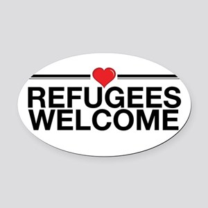 Refugees Welcome Oval Car Magnet