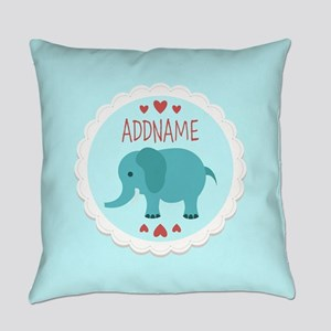 Personalized Name Elephant Baby Sh Everyday Pillow