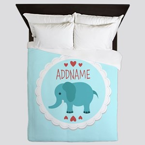 Personalized Name Elephant Baby Shower Queen Duvet
