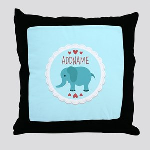 Personalized Name Elephant Baby Showe Throw Pillow