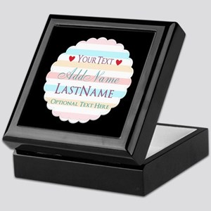 Girly Monogram Bright Hues Stripes Pe Keepsake Box