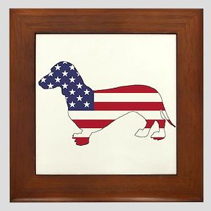 Dachshund - American Flag Framed Tile
