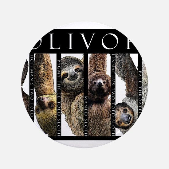 """Sloths of the World 3.5"""" Button"""
