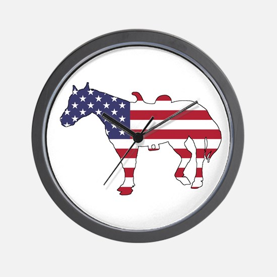 Horse - American Flag Wall Clock