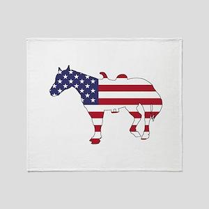 Horse - American Flag Throw Blanket