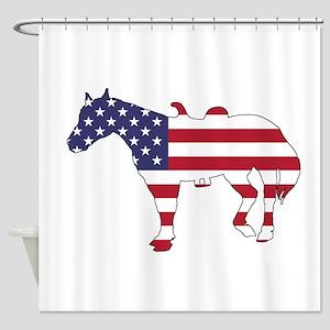 Horse - American Flag Shower Curtain