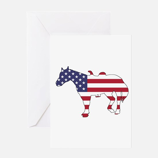 Horse - American Flag Greeting Cards