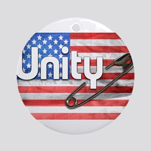 Safety Pin, Unity, American Flag Round Ornament