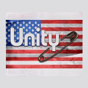 Safety Pin, Unity, American Flag Throw Blanket