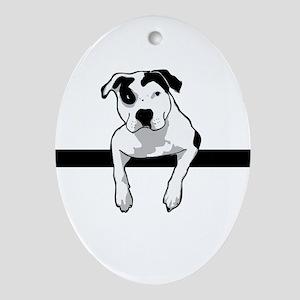 Pit Bull T-Bone Graphic Oval Ornament