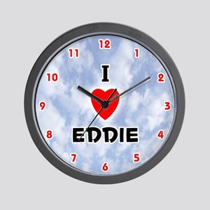 I Love Eddie (Red/Blk) Valentine Wall Clock