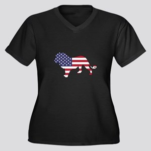 Lion - American Flag Plus Size T-Shirt