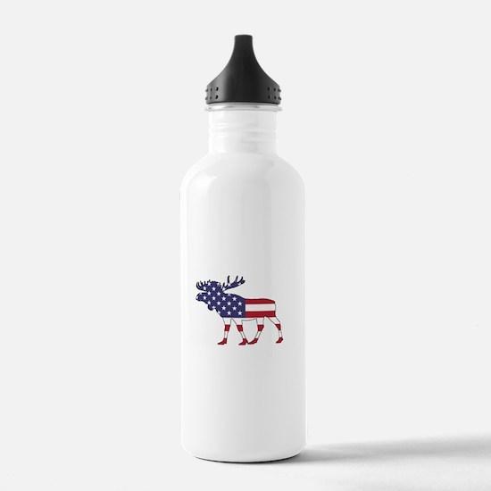 Moose - American Flag Water Bottle