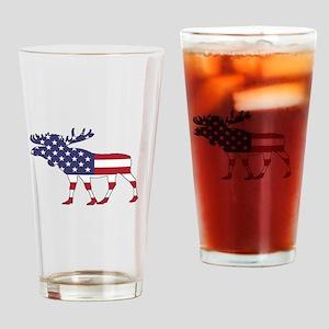 Moose - American Flag Drinking Glass