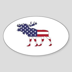 Moose - American Flag Sticker