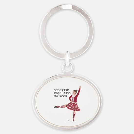 Scottish Highland Dancer Oval Keychain