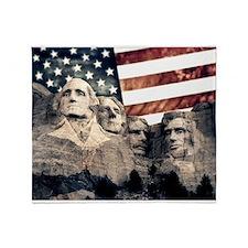 Patriotic Mount Rushmore Throw Blanket