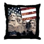 Patriotic Mount Rushmore Throw Pillow
