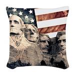 Patriotic Mount Rushmore Woven Throw Pillow