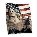 Patriotic Mount Rushmore Burlap Throw Pillow