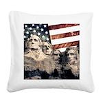 Patriotic Mount Rushmore Square Canvas Pillow