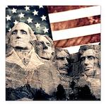 Patriotic Mount Rushmore Square Car Magnet 3