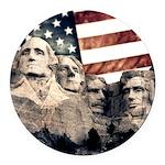 Patriotic Mount Rushmore Round Car Magnet