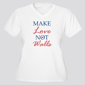 Make Love Not Walls Women's Plus Size V-Neck T-Shi