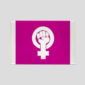 Pink feminist symbol Magnets