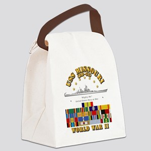 USS Missouri - WWII w SVC Ribbons Canvas Lunch Bag