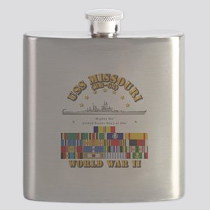 USS Missouri - WWII w SVC Ribbons Flask