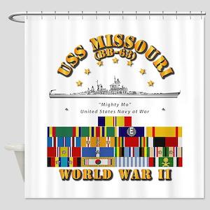 USS Missouri - WWII w SVC Ribbons Shower Curtain