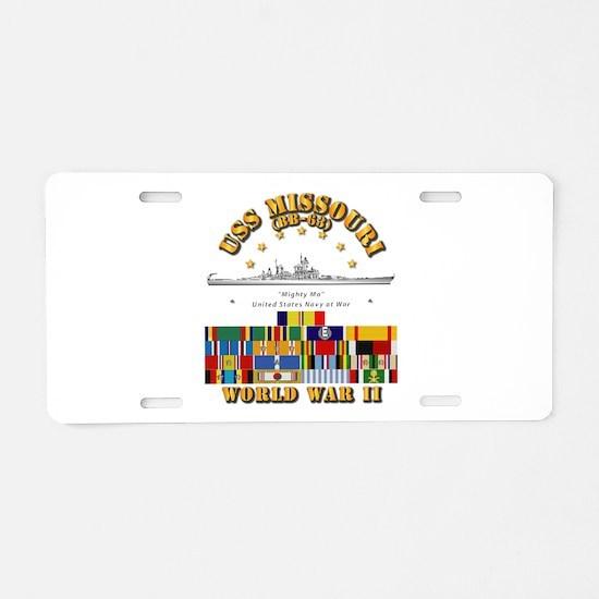 USS Missouri - WWII w SVC R Aluminum License Plate