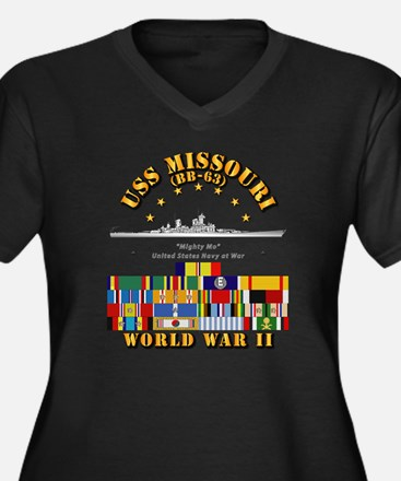 USS Missouri Women's Plus Size V-Neck Dark T-Shirt