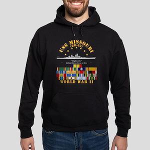 USS Missouri - WWII w SVC Ribbons Hoodie (dark)
