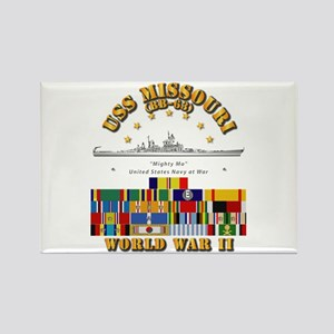 USS Missouri - WWII w SVC Ribbons Rectangle Magnet