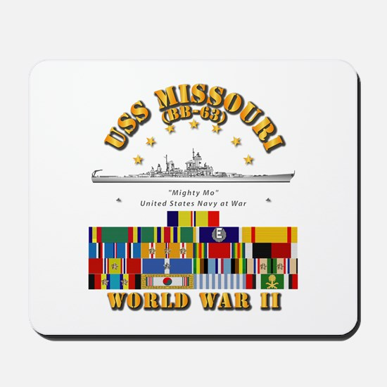 USS Missouri - WWII w SVC Ribbons Mousepad