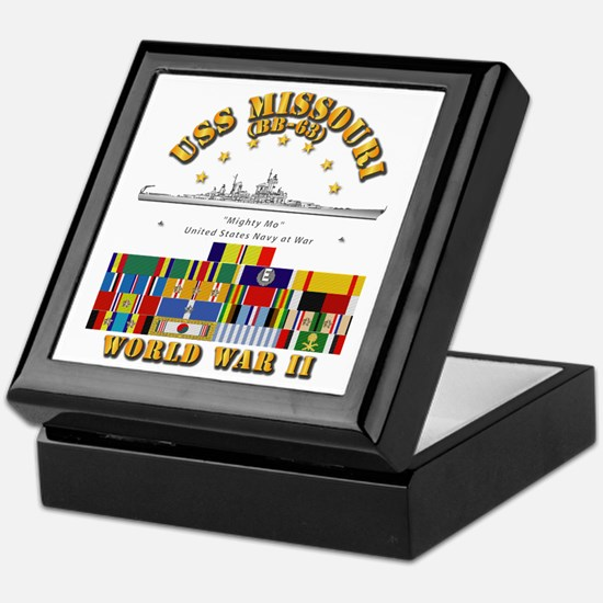 USS Missouri - WWII w SVC Ribbons Keepsake Box