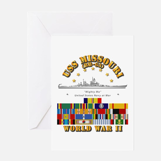 USS Missouri - WWII w SVC Ribbons Greeting Card
