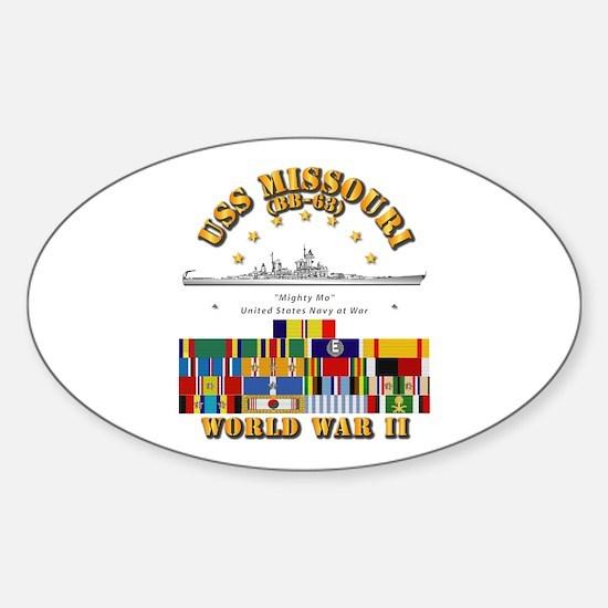 USS Missouri - WWII w SVC Ribbons Sticker (Oval)