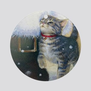 Kitten at Santa's Boot Round Ornament