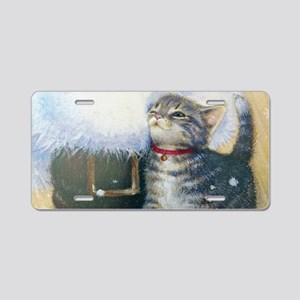 Kitten at Santa's Boot Aluminum License Plate