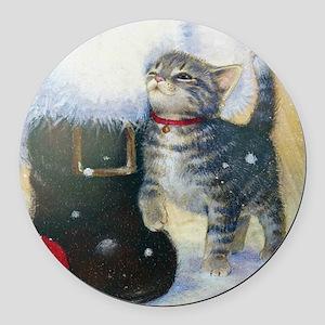 Kitten at Santa's Boot Round Car Magnet