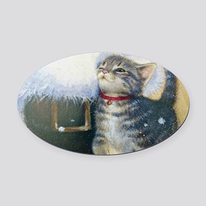 Kitten at Santa's Boot Oval Car Magnet