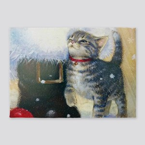 Kitten at Santa's Boot 5'x7'Area Rug