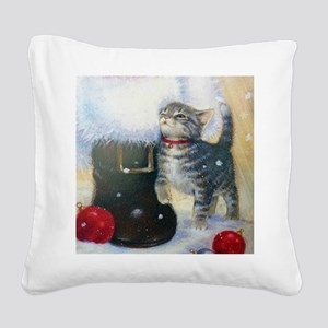 Kitten at Santa's Boot Square Canvas Pillow