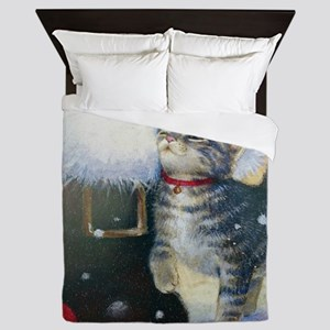 Kitten at Santa's Boot Queen Duvet