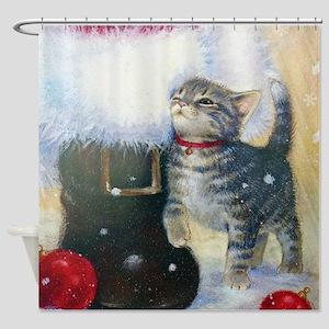 Kitten at Santa's Boot Shower Curtain